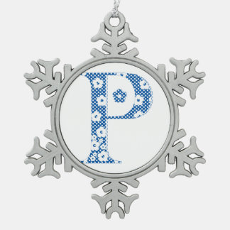 flower alphabet P (blue and dots) Ornaments