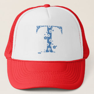 flower alphabet T (blue and dots) Trucker Hat