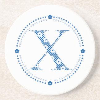 flower alphabet X (blue and dots) Coaster