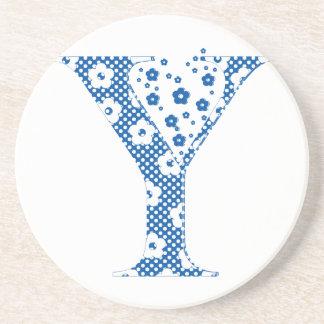 flower alphabet Y (blue and dots) Sandstone Coaster