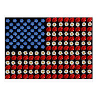 Flower American Flag Postcard