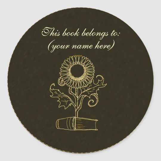 Flower and a book, dark yellow classic round sticker