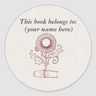 Flower and a book round sticker