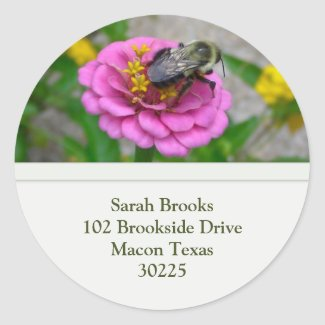 Flower and Bee Address Label sticker