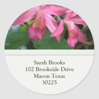 Flower and Bee Address Label Classic Round Sticker