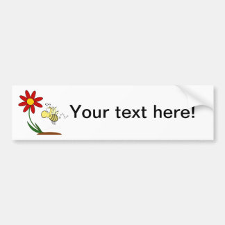 Flower and bee cartoon bumper stickers