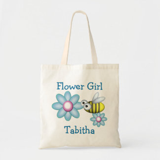Flower and Bee Flower Girl Tote Bags