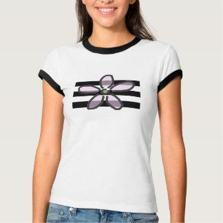 Flower and Black Stripes T-Shirt