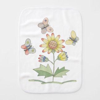 Flower and Butterflies by Tom Seidmann Freud Baby Burp Cloth