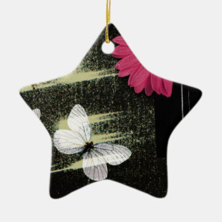 Flower and Butterflies Double-Sided Star Ceramic Christmas Ornament