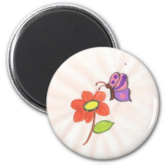 Flower and Butterfly 2 Inch Round Magnet