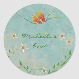 flower and butterfly bookplate round sticker