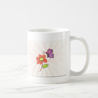 Flower and Butterfly Classic White Coffee Mug