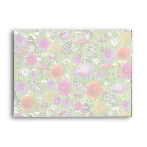 Flower and Butterfly Collage Pattern Envelopes