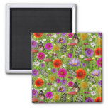 Flower and Butterfly Collage Pattern 2 Inch Square Magnet