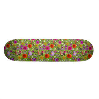 Flower and Butterfly Collage Pattern Skate Decks