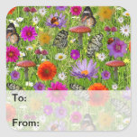 Flower and Butterfly Collage Pattern Square Sticker