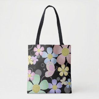 Flower and Butterfly Design Tote Bag