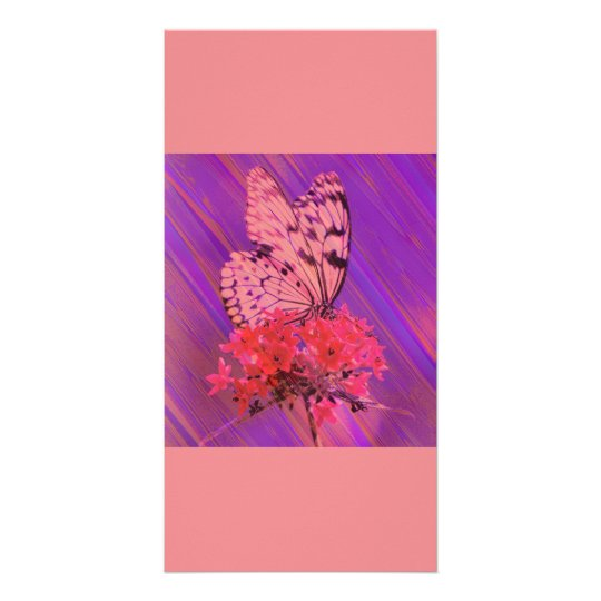 Flower and Butterfly in Pink and Purple Card