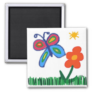 Flower and Butterfly Kids Art Drawing Square Magne 2 Inch Square Magnet