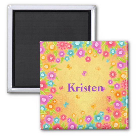 Flower and butterfly name magnet