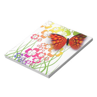 Flower and Butterfly Notepad