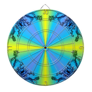 Flower and Butterfly on blue yellow rainbow Dart Board