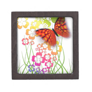 Flower and Butterfly Premium Keepsake Boxes