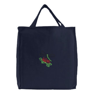 Flower and Dragonfly Embroidered Tote Bag