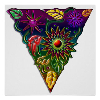 flower and fall leaves in triangle Print
