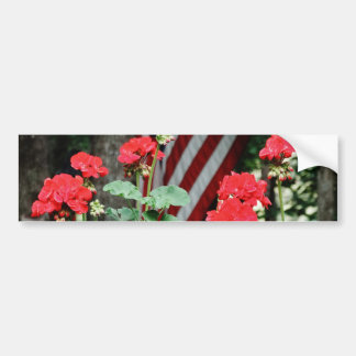 Flower and flag Red white and blue Bumper Stickers