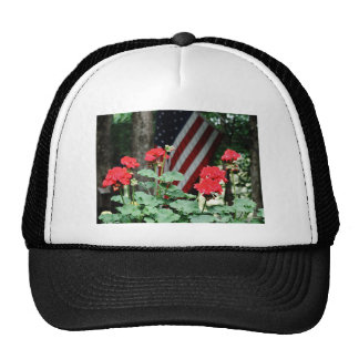 Flower and flag Red white and blue Mesh Hats