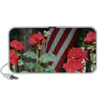 Flower and flag Red white and blue Portable Speaker