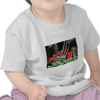 Flower and flag Red white and blue Tshirts
