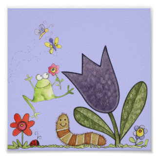 flower and frog poster