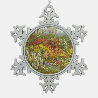 Flower and Herbaceous Border Snowflake Pewter Christmas Ornament