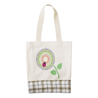 Flower and Ladybug Zazzle HEART Tote Bag