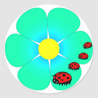 Flower and ladybugs stickers