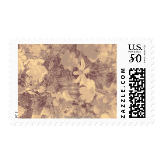 Flower and leaf camouflage pattern on beige postage