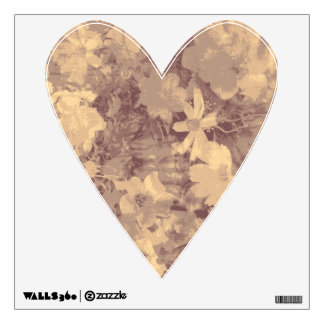 Flower and leaf camouflage pattern on beige wall decal