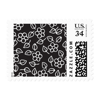 flower and leaves pattern postage