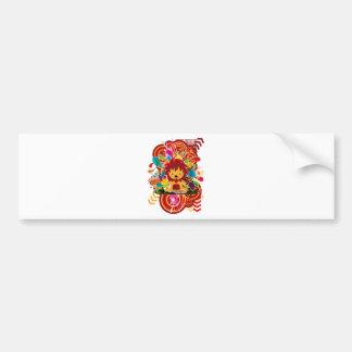 Flower and lion bumper sticker