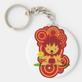 Flower and lion keychain