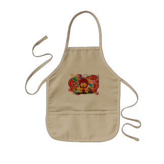 Flower and lion kids' apron