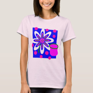 Flower And Pot With Outline, Background & Circles T-Shirt