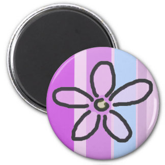 Flower and Purple Blue Stripes 2 Inch Round Magnet