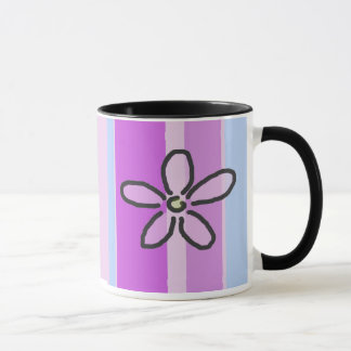Flower and Purple Blue Stripes Mug