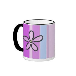 Flower and Purple Blue Stripes Ringer Mug