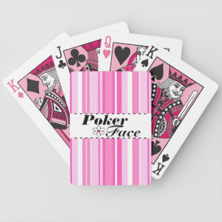 Flower and Stripes Pink Poker Face Playing Cards