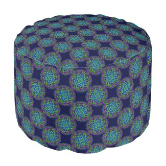 Flower and Swirls Mandala Pouf